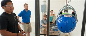 FLC Engineering students devise device to study the effectiveness of football helmets
