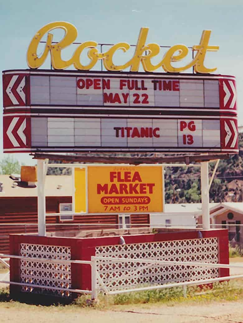 Photo of old Rocket sign showing the Titanic title.