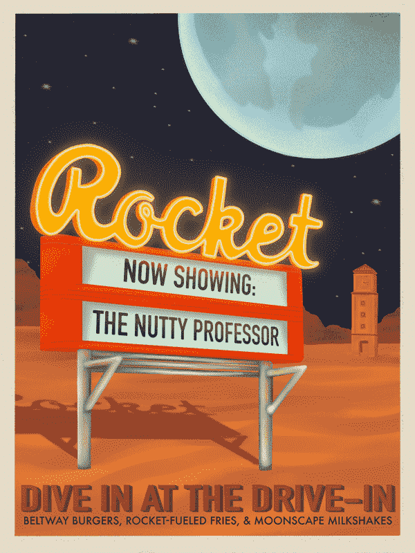 """Illustration of Rocket theater sign in space, displaying """"Now showing: The Nutty Professor"""""""