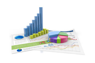 Models of bar and line graphs and a pie chart on a white background