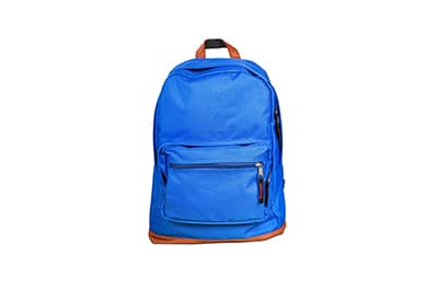 A blue backpack against a white background