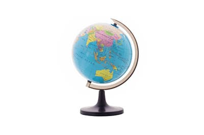 A globe on a stand with a white background to represent the Borders & Languages major