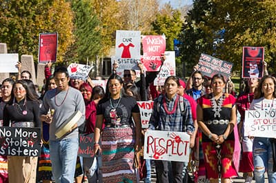 FLC students marching on Indigenous Peoples Day