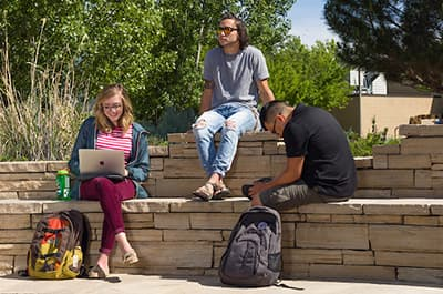 Students enjoying a sunny day on campus