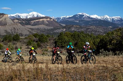 FLC students riding mountain bikes in Durango