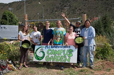 FLC student group photo at the campus community garden