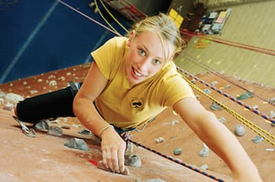 Woman on the climbing wall