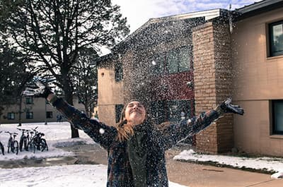 FLC student playing in the snow