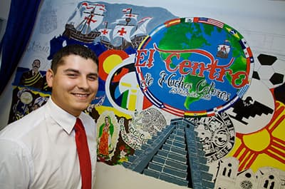 FLC student with El Centro mural