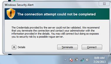 Windows Connection Warning