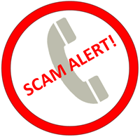 image of a red circle with scam alert text inside the circle