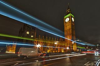 beams of light around Big Ben tower