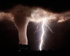 photo of a tornado and lightning