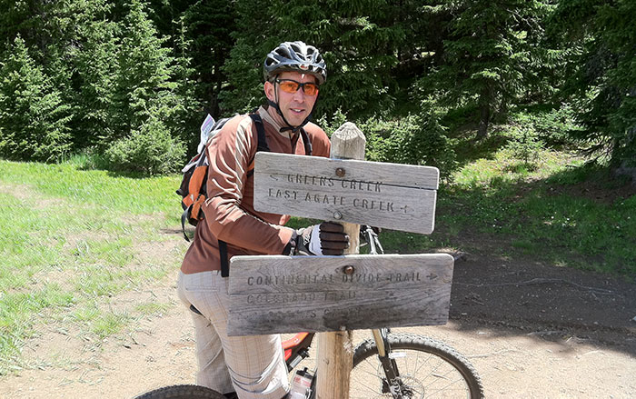FLC alumnus Dan Brown still mountain bikes today -- here, at Monarch Pass.
