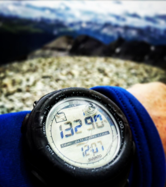 Altimeter watch in the mountains