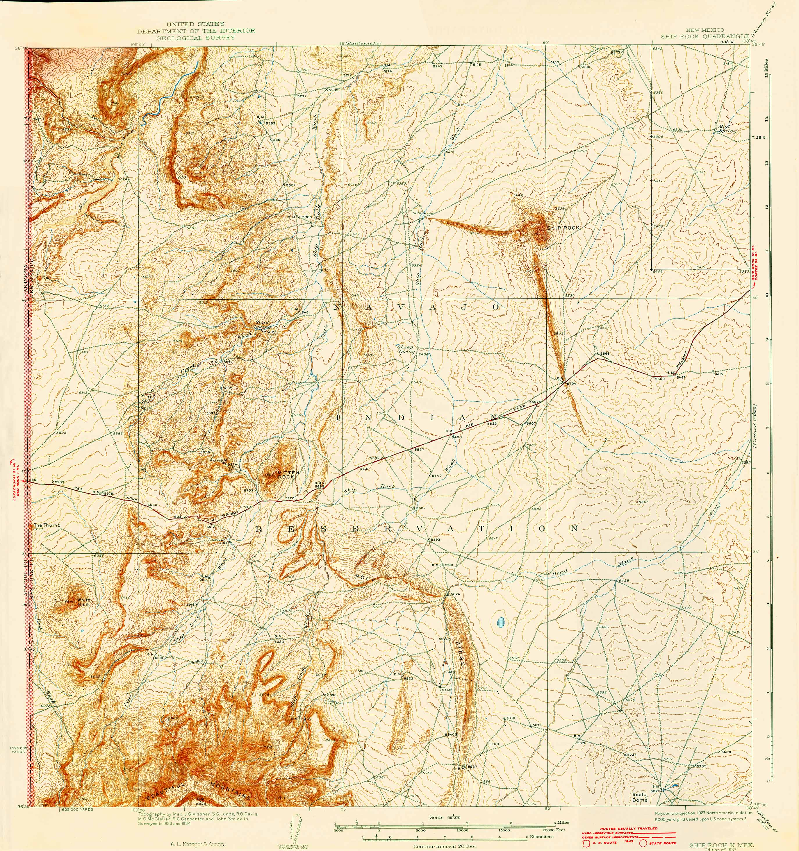 ... topographic map of Ship Rock, N.M., at the Center of Southwest Studies