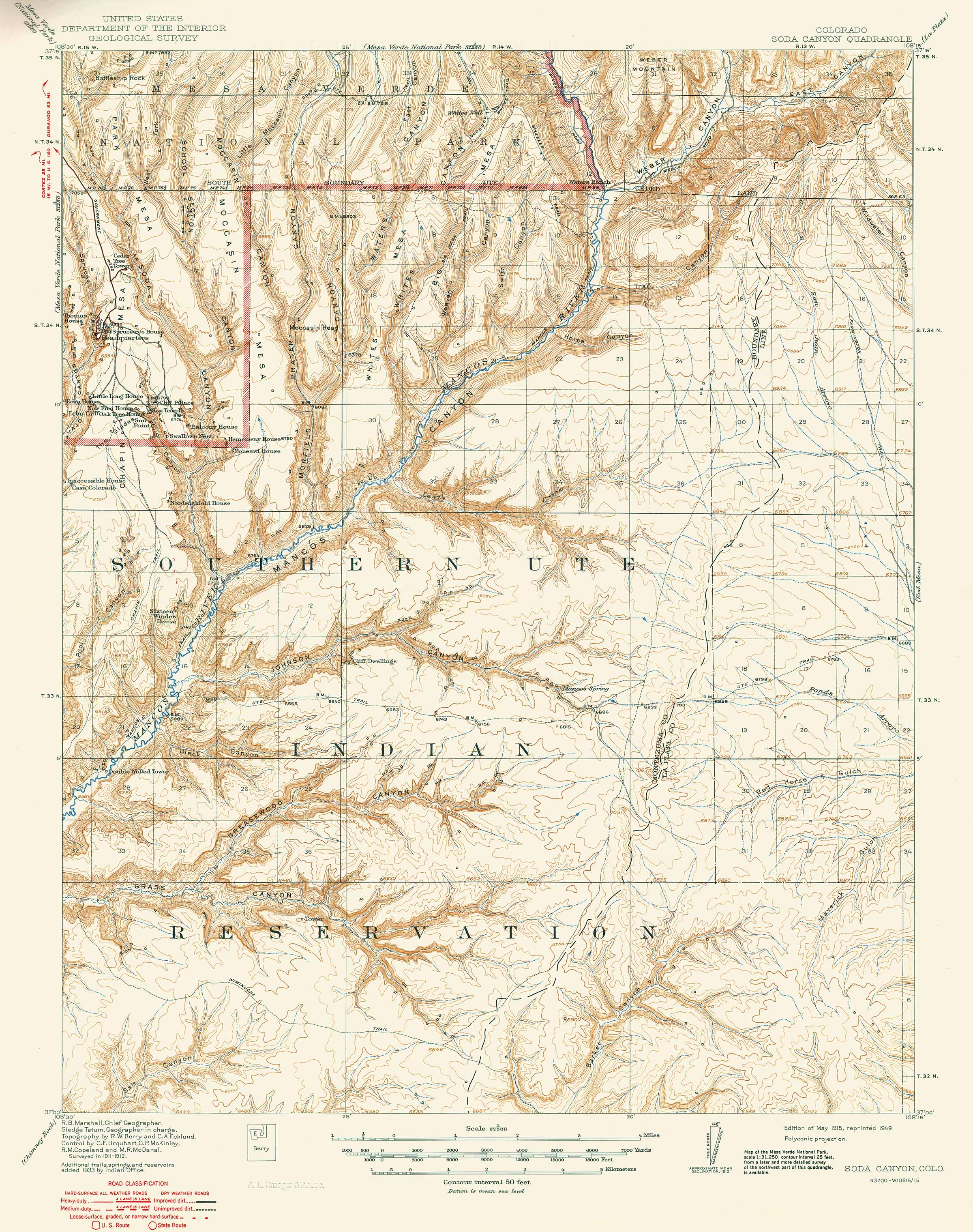 Collection C  USGS Topographic Map Of Soda Canyon CO Mesa - Map us southwest national parks