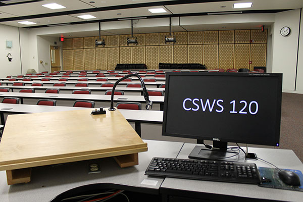 CSWS Room 120 workstation and Lecture Hall View
