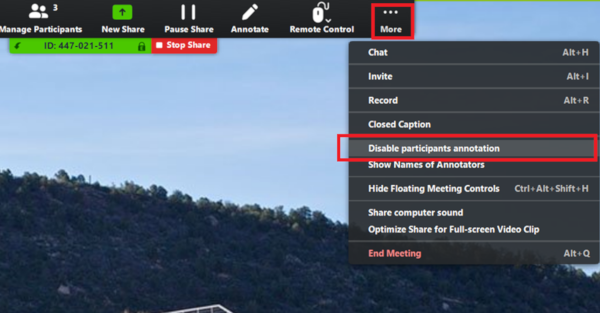 Picture of Zoom app with the Disable participants annotation link highlighted